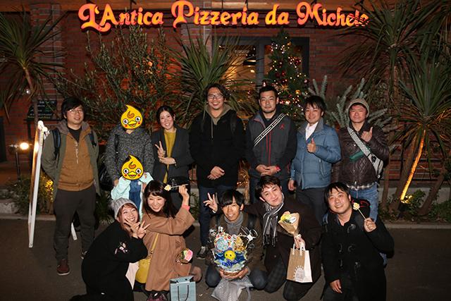 アンティーカ ピッツェリア ダ ミケーレ 福岡の店先で集合写真